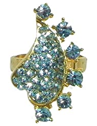 Light Blue Stone Studded Adjustable Ring - Stone And Metal