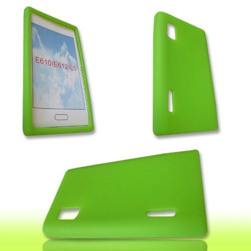 Handycop® SILIKON Case GRÜN für LG E610 Optimus L5 - Tasche Silicon Schutz Schutzhülle Hülle Sleeve Giftgrün