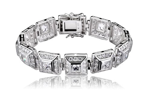 Nikkis 925 Sterling Silver Bracelet Princess Cut CZ Half Bezel w/ Round CZ Outline in a Square Set - Incl. ClassicDiamondHouse Free Gift Box & Cleaning Cloth