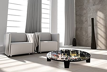 "TAF DECOR ""Pop City 8"" Art Coffee Table, 35"" X 35"" X 7.5"", Multicolored"