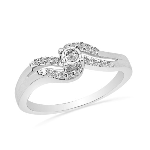 10KT White Gold Round Diamond Promise Ring (1/6 CTTW)