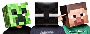 Minecraft Creeper, Steve & Enderman Cardboard Costume Mask Set Of 3