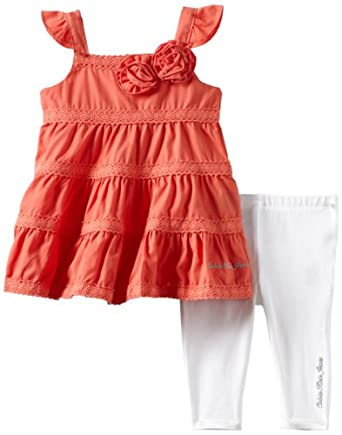 Calvin Klein Baby-girls Infant Coral Tunic with Leggings, Pink, 24 Months