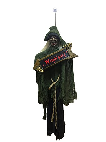 [Hanging Witch Halloween Decoration with Sign Halloween Prop the Perfect Outdoor Halloween Decor Idea to Enjoy Your Party More, Haunt Your Guests] (Dead Raven Costume)
