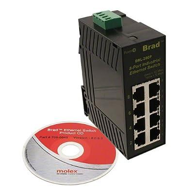Molex 1120360037 Direct Link Series 200 Unmanaged Ethernet Switch, 8-Port RJ45, IP30