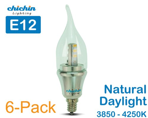 Chichinlighting® 6-Pack Led Candelabra Bulb 6W E12 Light Bulbs 60W 60 Watt 3850 - 4250K Natural Daylight Bent Tip