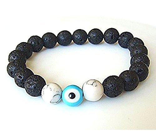 lava-stone-round-beads-with-blue-evil-eye-talisman-good-luck-stretch-bracelet-7-small-medium-size