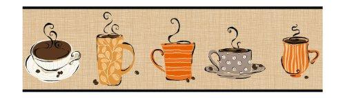 York Wallcoverings Kb8502B Bistro 750 Linen Prepasted Wallpaper, Mocha Brown / Ash Gray / Apricot Orange