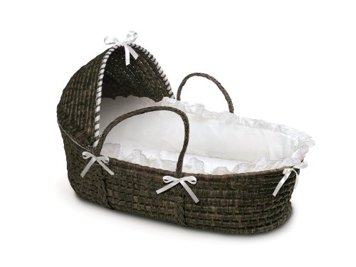 Buy Bargain Badger Basket Moses Basket with Hood and Bedding, Espresso/White