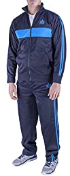 Vertical Sport Men\'s 2 Piece Jacket Pants Track Suit JS15 (Medium, Navy/Aqua)