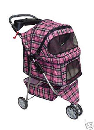 BestPet Pet Stroller Cat Dog 3 Wheel Walk Travel Folding Carrier W/Rain Cover Pink Plaid