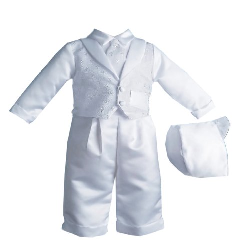 Lauren Madison Baby boy Christening Baptism Special occasion Infant Cross Dobby Vest Set With Pleated Satin Long Pants