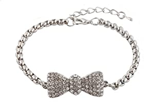 Silver Iced Out Bow Tie Shamballah Box Chain Adjustable Bracelet