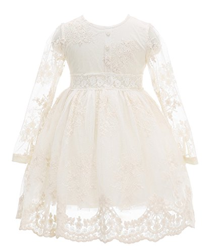 Bow Dream Flower Girl Dress Vintage Lace Cream Ivory 10 (Girls Vintage Dress compare prices)