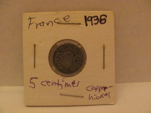 1936 FRANCE 5 Centimes Coin