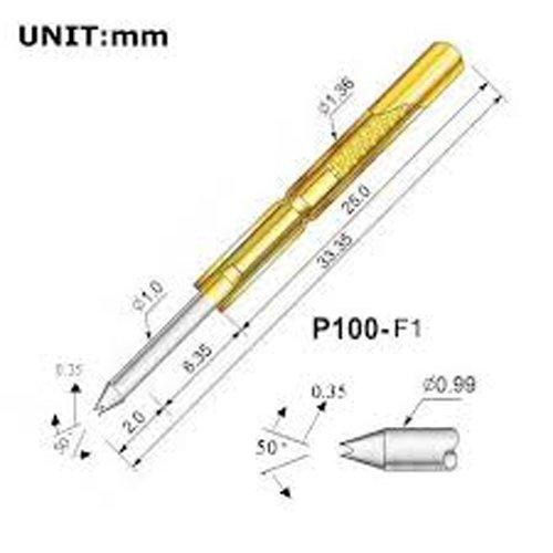 150 Pcs P100-F1 Test Probe Metal Golden Yellow Detector Instrument To Detect The Needle Pogo Pin