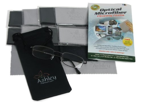 "Save 33% Today! (8 Pack & Free Case & More) Larger Premium Optical (80/20 Split) Microfiber Cleaning Cloths By Ashley Premium, Inc - Size 6 1/4"" X 7"" - Ultra Soft And Absorbent 
