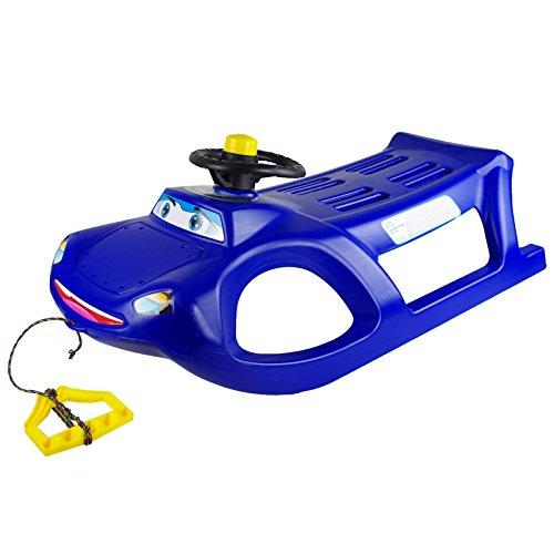 Schlitten Farbe wählbar Kunststoff Schlitten Kinderschlitten Bob Auto Schlitten, Farbe:blau