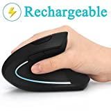 Ergonomic Mouse, Vertical Wireless Mouse - 7Lucky Rechargeable 2.4GHz Optical Vertical Mice : 3 Adjustable DPI 800/1200/1600 Levels 6 Buttons, for Laptop, PC, Computer, Desktop, Notebook etc, Black (Color: Black)
