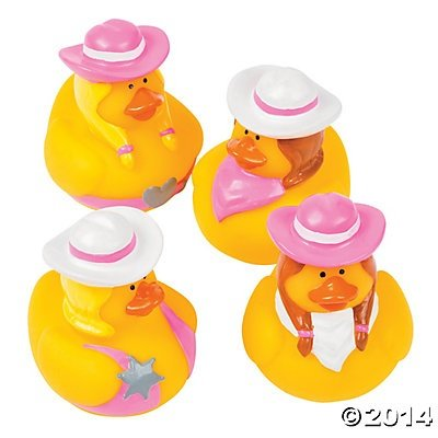 Pink Cowgirl Rubber Ducks - 12 pcs