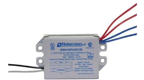 Robertson 3P20011 Rsn1Gph20120 /Bn Eballast For 1 Gph178T5 Thru Gph463T5, Gphu22-212T5 Or Tuv-Pll18W Lamps, Preheat Rapid Start, 120Vac, 50-60Hz, Npf