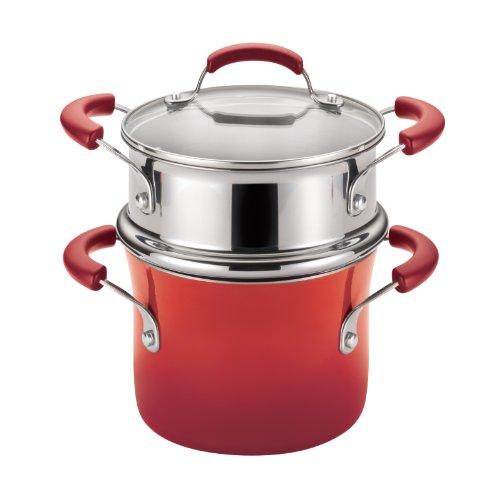 Rachael Ray Porcelain Enamel II Nonstick Covered Steamer Set, 3-Quart, Red Gradient