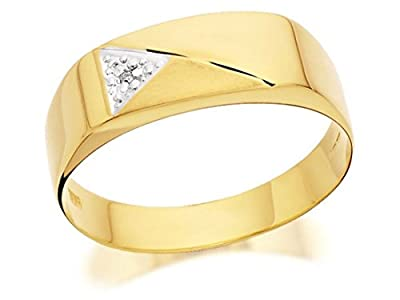 F.Hinds Mens Jewellery Jewelry 9ct Gold Gentlemans Diamond Set Signet Ring - EXCLUSIVE
