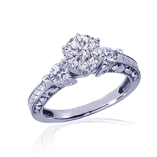 1.40 Round 3 Stone Diamond Engagement Ring 14K 