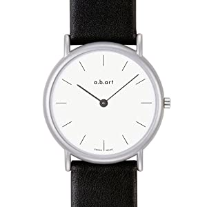 a.b.art Unisex Quartz Watch with White Dial Analogue Display and Black Leather Strap K101