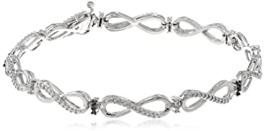 Silver Black and White Diamond Bracelet (0.05 cttw, I-J Color, I2-I3 Clarity)