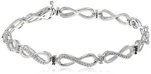 Silver Black and White Diamond Bracelet (0.05 cttw, I-J Color, I2-I3 Clarity)