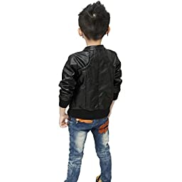 Chinaface Boy\'s Trendy Stand-Collar PU Leather Spring Moto Jacket Black XX-Large
