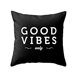 HLPPC Good Vibes Only Black Typography Polyester Throw Pillow Cover Black and White Pillow Case 18 x 18 Inches