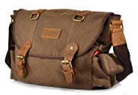 Canvas Leather Shoulder Vintage Messenger Bag Travel - Brown