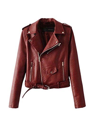 SaiDeng Donna Punk Stile Giacca Moto Corto In Pelle Pu Cappotto Cerniera Jacket Bodeaux L