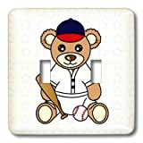 lsp_15396_2 Janna Salak Designs Teddy Bears - Cute Baseball Player Teddy Bear Boy - Light Switch Covers - double toggle switch