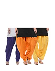 NGT Royal Blue, Orange And Lemon Yellow Pure Cotton Patialas In A Combo Pack For Womens