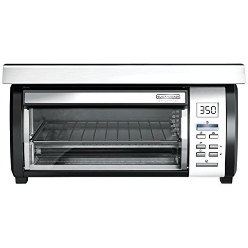 Black & Decker LED Display and Digital Controls 4- Slice Toaster Oven with Under-The-Cabinet Spacemaker, Stainless Steel (Under The Cabinet Toaster Oven compare prices)