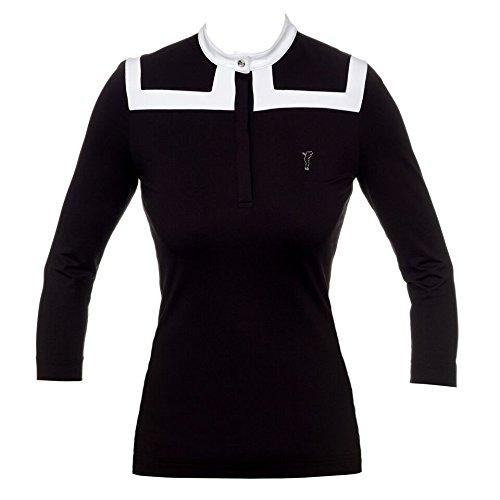 golfino-3-4-sleeve-mock-neck-shirt-black