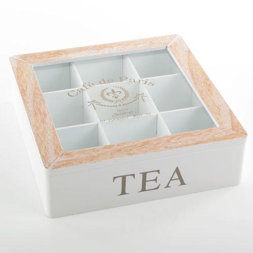 Tea Time - contenitore per tè in legno con 9 scomparti 23 x 7 cm colore bianco