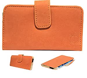 Jo Jo A8 Nillofer Leather Carry Case Cover Pouch Wallet Case For Intex Aqua i14 Orange