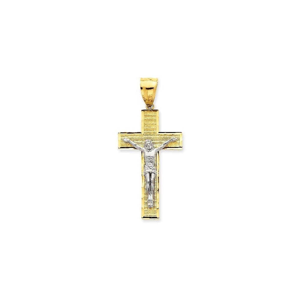 14k Gold Two Tone Gold Diamond  Cut Crucifix Pendant (2.13 in x 0.94 in)
