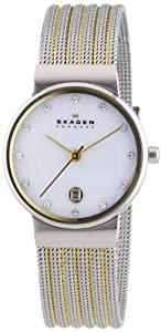 Skagen Women's Quartz Watch with Mother of Pearl Dial Analogue Display and Silver Stainless Steel Strap 355SSGS
