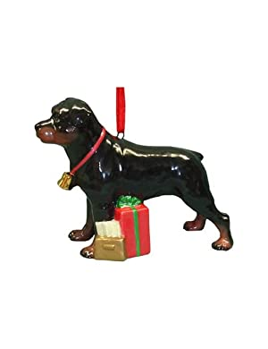 Cute Christmas Holiday Rottweiler Dog Ornament