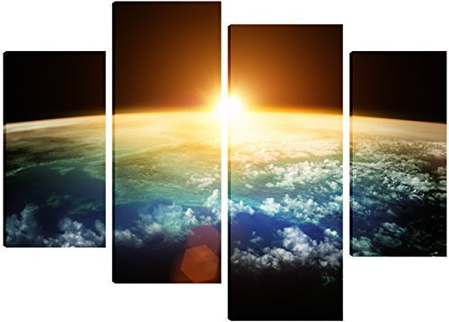 planet-earth-with-a-spectacular-sunset-canvas-art-4-split-panel-design-71cm-x-101cm-free-hanging-kit