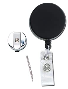 Heavy-duty Black/Chrome Badge Reel with chain