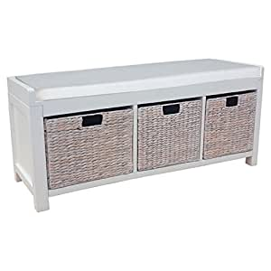 White Entryway Storage Bench With 3 Water Hyacinth Baskets Kitchen Dining