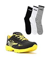Elligator Black & Yellow Stylish Sport Shoes With Puma Socks For Men's - B0144R1N8C
