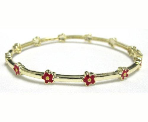 Red and Yellow Enamel Flowers 18k Yellow Gold Plated Kids Girls Bangle Bracelet 50 mm