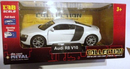 Rare Welly Die Cast Scale model-Audi R8 V10 in White-Pull Back &Go Action-1:38 boxed